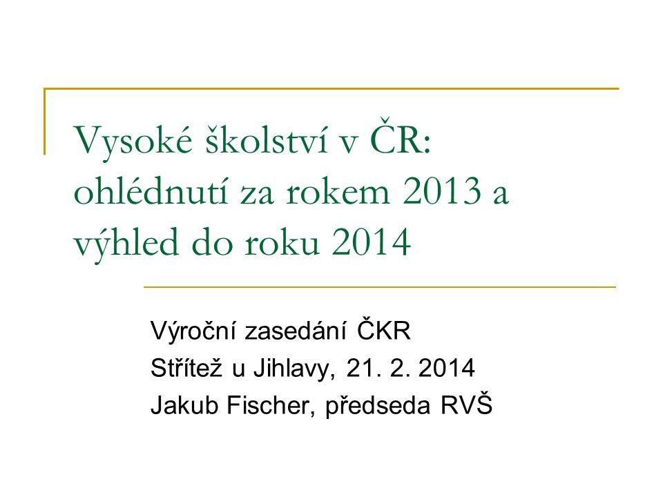 Vysoké školství v ČR: ohlédnutí za rokem 2013 a výhled do roku 2014 Výroční zasedání ČKR Střítež u Jihlavy, 21.