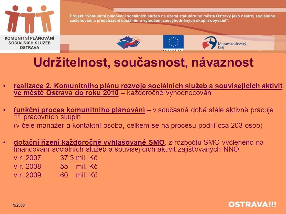 Udržitelnost, současnost, návaznost •realizace 2. Komunitního plánu rozvoje sociálních služeb a souvisejících aktivit ve městě Ostrava do roku 2010 –
