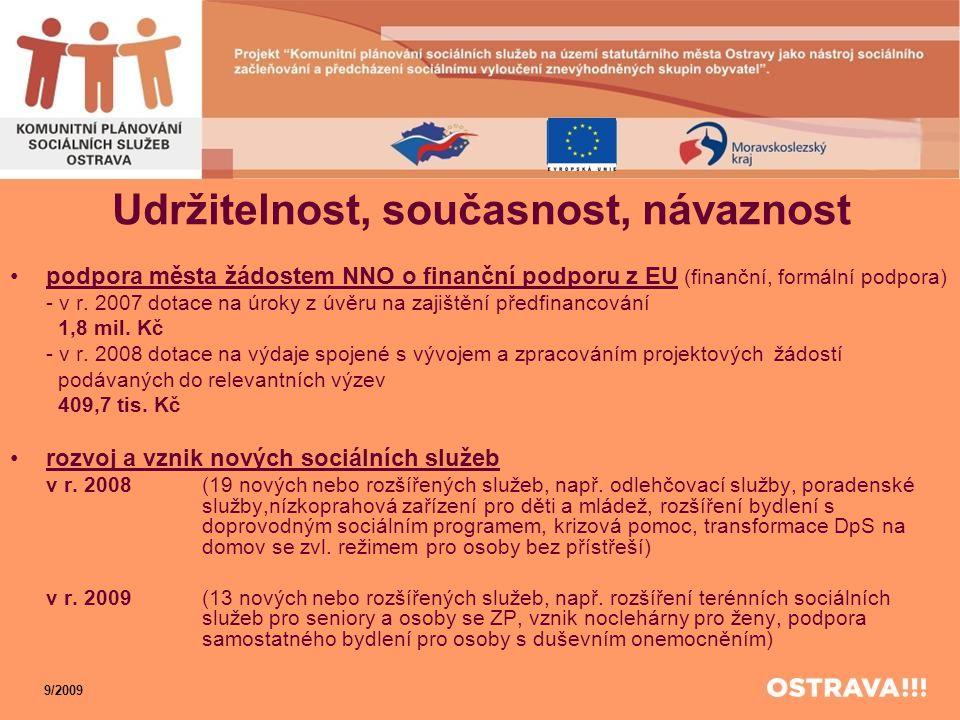 Udržitelnost, současnost, návaznost •podpora města žádostem NNO o finanční podporu z EU (finanční, formální podpora) - v r. 2007 dotace na úroky z úvě