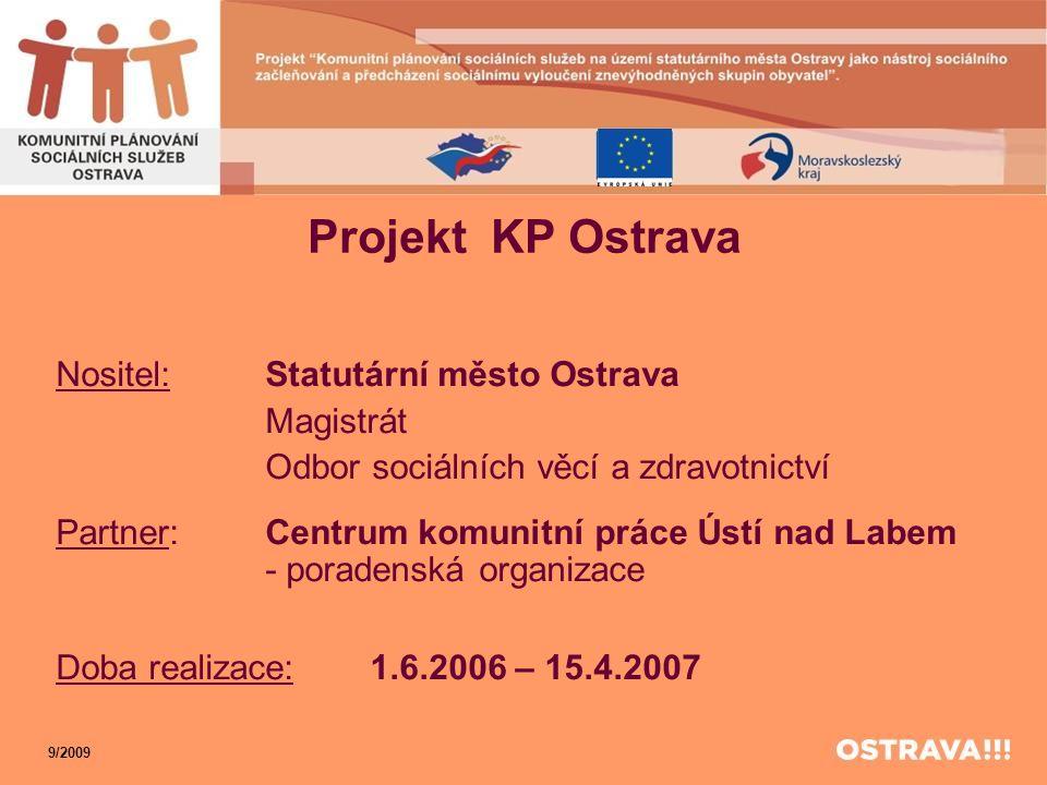 Projekt KP Ostrava Nositel:Statutární město Ostrava Magistrát Odbor sociálních věcí a zdravotnictví Partner:Centrum komunitní práce Ústí nad Labem - p