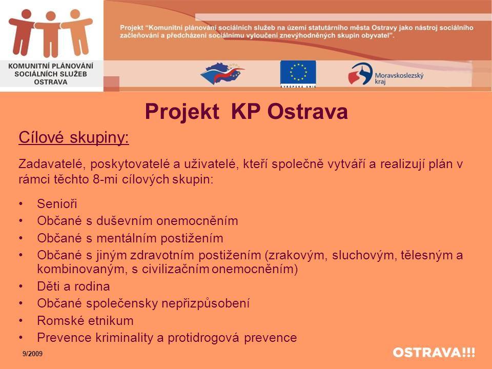 Projekt KP Ostrava Cílové skupiny: Zadavatelé, poskytovatelé a uživatelé, kteří společně vytváří a realizují plán v rámci těchto 8-mi cílových skupin: