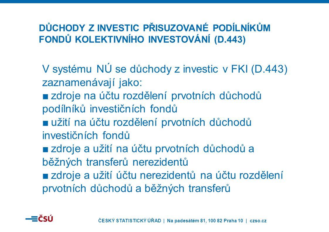 ČESKÝ STATISTICKÝ ÚŘAD | Na padesátém 81, 100 82 Praha 10 | czso.cz V systému NÚ se důchody z investic v FKI (D.443) zaznamenávají jako: ■zdroje na účtu rozdělení prvotních důchodů podílníků investičních fondů ■užití na účtu rozdělení prvotních důchodů investičních fondů ■zdroje a užití na účtu prvotních důchodů a běžných transferů nerezidentů ■zdroje a užití účtu nerezidentů na účtu rozdělení prvotních důchodů a běžných transferů DŮCHODY Z INVESTIC PŘISUZOVANÉ PODÍLNÍKŮM FONDŮ KOLEKTIVNÍHO INVESTOVÁNÍ (D.443)