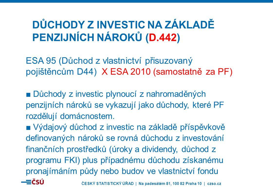 ČESKÝ STATISTICKÝ ÚŘAD | Na padesátém 81, 100 82 Praha 10 | czso.cz ESA 95 (Důchod z vlastnictví přisuzovaný pojištěncům D44) X ESA 2010 (samostatně za PF) ■Důchody z investic plynoucí z nahromaděných penzijních nároků se vykazují jako důchody, které PF rozdělují domácnostem.