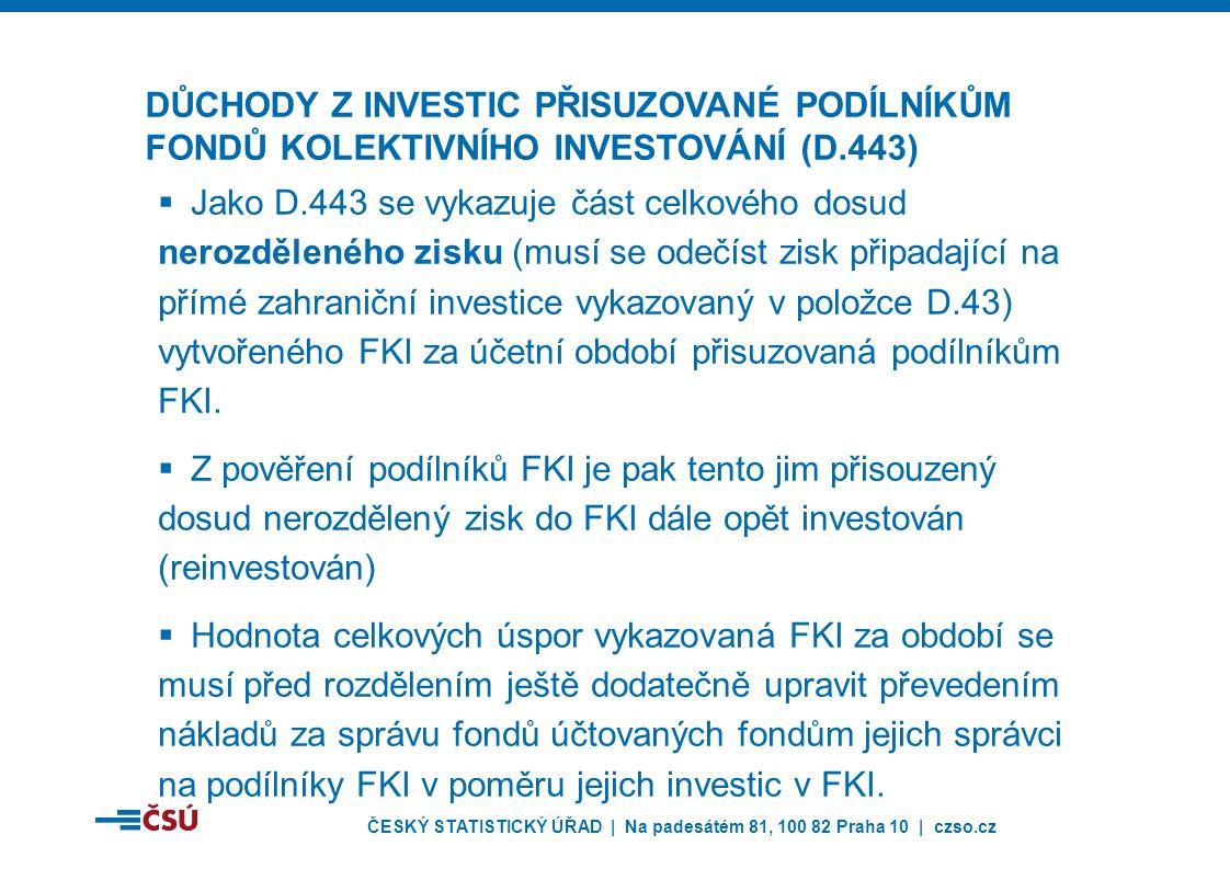 ČESKÝ STATISTICKÝ ÚŘAD | Na padesátém 81, 100 82 Praha 10 | czso.cz  Jako D.443 se vykazuje část celkového dosud nerozděleného zisku (musí se odečíst zisk připadající na přímé zahraniční investice vykazovaný v položce D.43) vytvořeného FKI za účetní období přisuzovaná podílníkům FKI.
