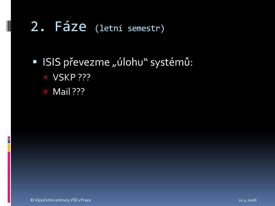 """2. Fáze (letní semestr)  ISIS převezme """"úlohu systémů:  VSKP ."""