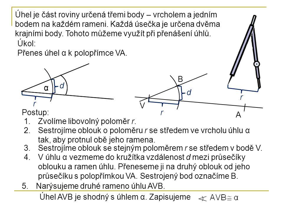 Úhel je část roviny určená třemi body – vrcholem a jedním bodem na každém rameni. Každá úsečka je určena dvěma krajními body. Tohoto můžeme využít při