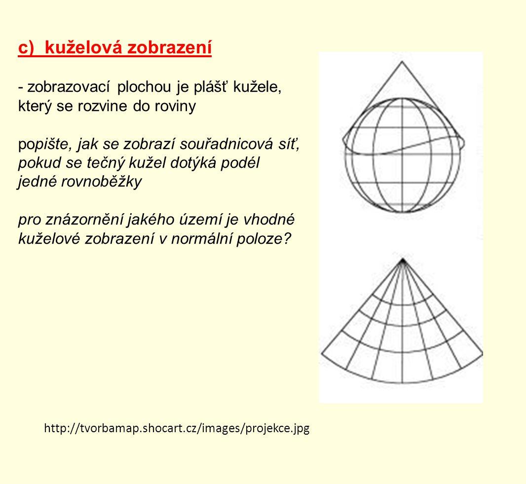 c) kuželová zobrazení - zobrazovací plochou je plášť kužele, který se rozvine do roviny popište, jak se zobrazí souřadnicová síť, pokud se tečný kužel dotýká podél jedné rovnoběžky pro znázornění jakého území je vhodné kuželové zobrazení v normální poloze.
