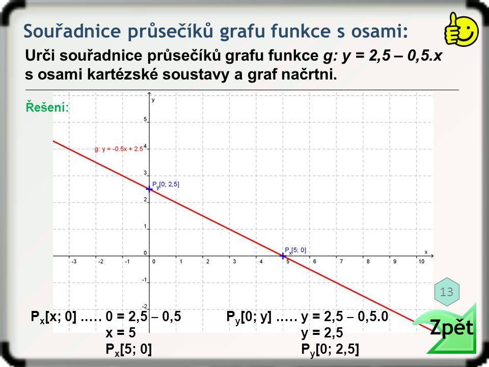 Souřadnice průsečíků grafu funkce s osami: Urči souřadnice průsečíků grafu funkce g: y = 2,5 – 0,5.x s osami kartézské soustavy a graf načrtni. P x [x