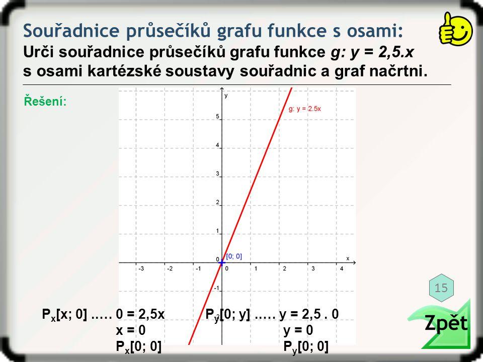 Souřadnice průsečíků grafu funkce s osami: Urči souřadnice průsečíků grafu funkce g: y = 2,5.x s osami kartézské soustavy souřadnic a graf načrtni. P