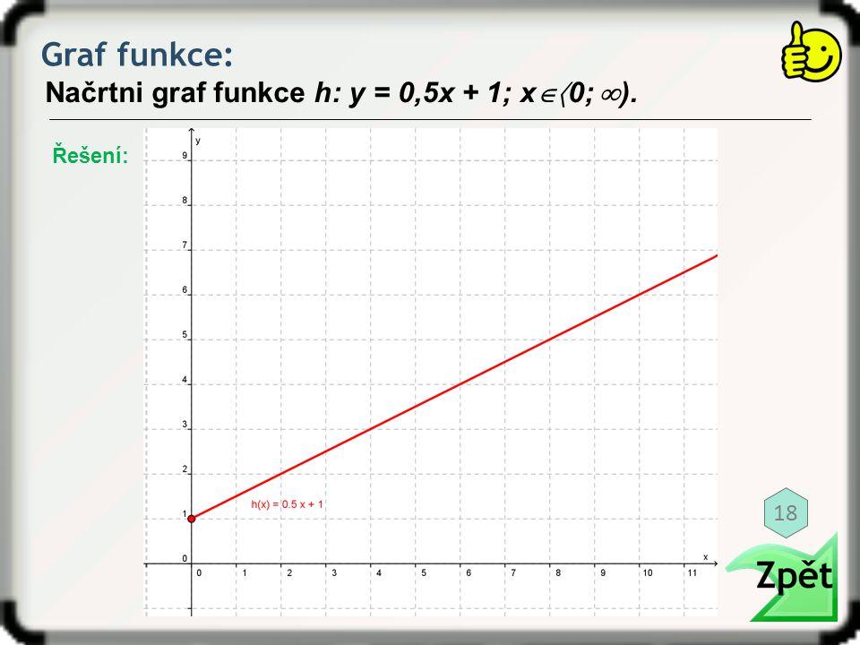 Graf funkce: Načrtni graf funkce h: y = 0,5x + 1; x  0;  ). Řešení: 18