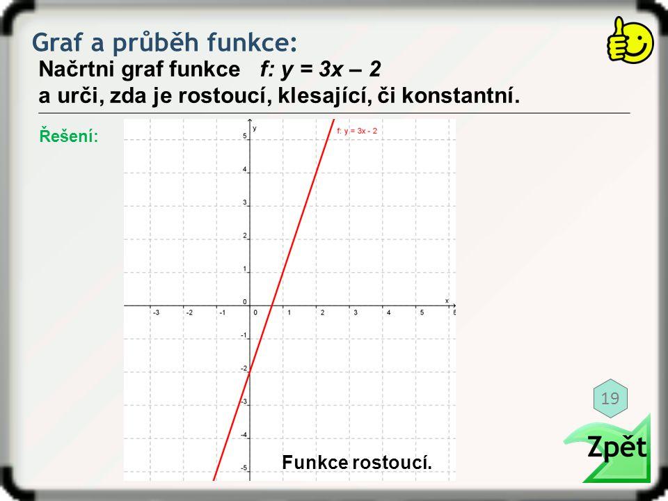 Graf a průběh funkce: Načrtni graf funkce f: y = 3x – 2 a urči, zda je rostoucí, klesající, či konstantní. Řešení: Funkce rostoucí. 19