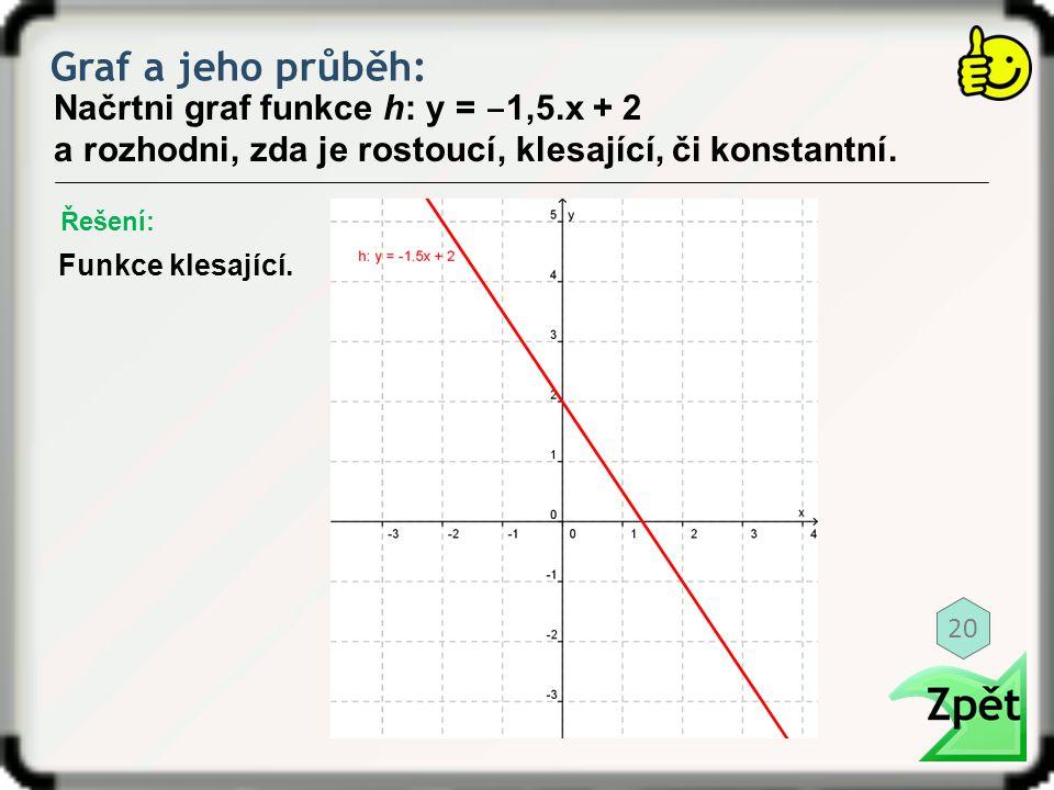 Graf a jeho průběh: Řešení: Načrtni graf funkce h: y = ‒ 1,5.x + 2 a rozhodni, zda je rostoucí, klesající, či konstantní. Funkce klesající. 20