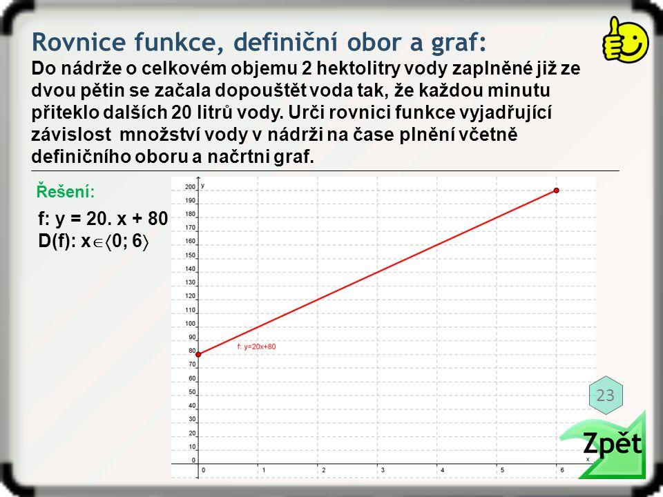 Rovnice funkce, definiční obor a graf: Do nádrže o celkovém objemu 2 hektolitry vody zaplněné již ze dvou pětin se začala dopouštět voda tak, že každo