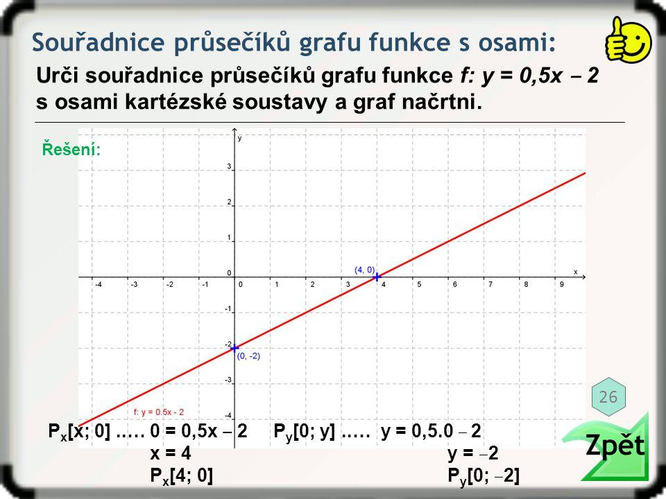 Souřadnice průsečíků grafu funkce s osami: Urči souřadnice průsečíků grafu funkce f: y = 0,5x ‒ 2 s osami kartézské soustavy a graf načrtni. P x [x; 0