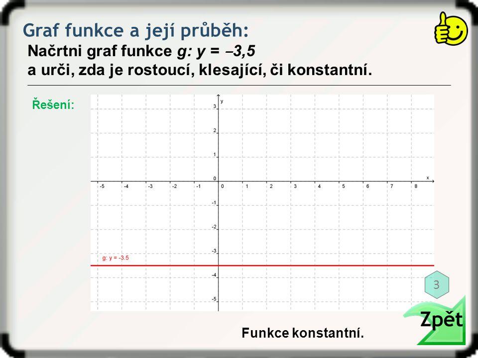 Graf funkce a její průběh: Načrtni graf funkce g: y = ‒ 3,5 a urči, zda je rostoucí, klesající, či konstantní. Funkce konstantní. Řešení: 3