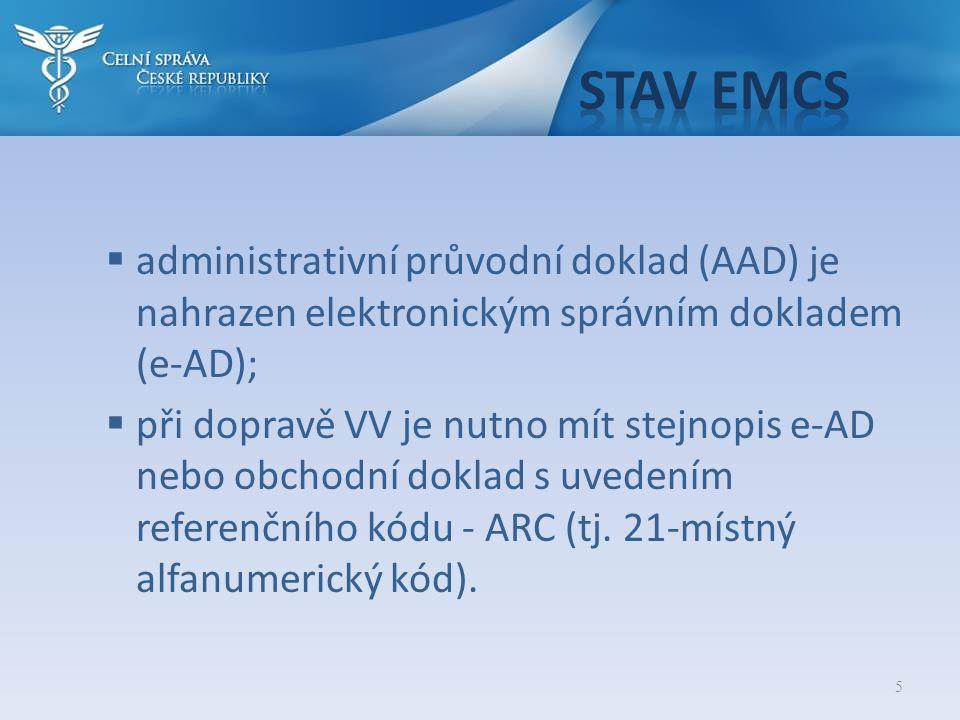 5  administrativní průvodní doklad (AAD) je nahrazen elektronickým správním dokladem (e-AD);  při dopravě VV je nutno mít stejnopis e-AD nebo obchod