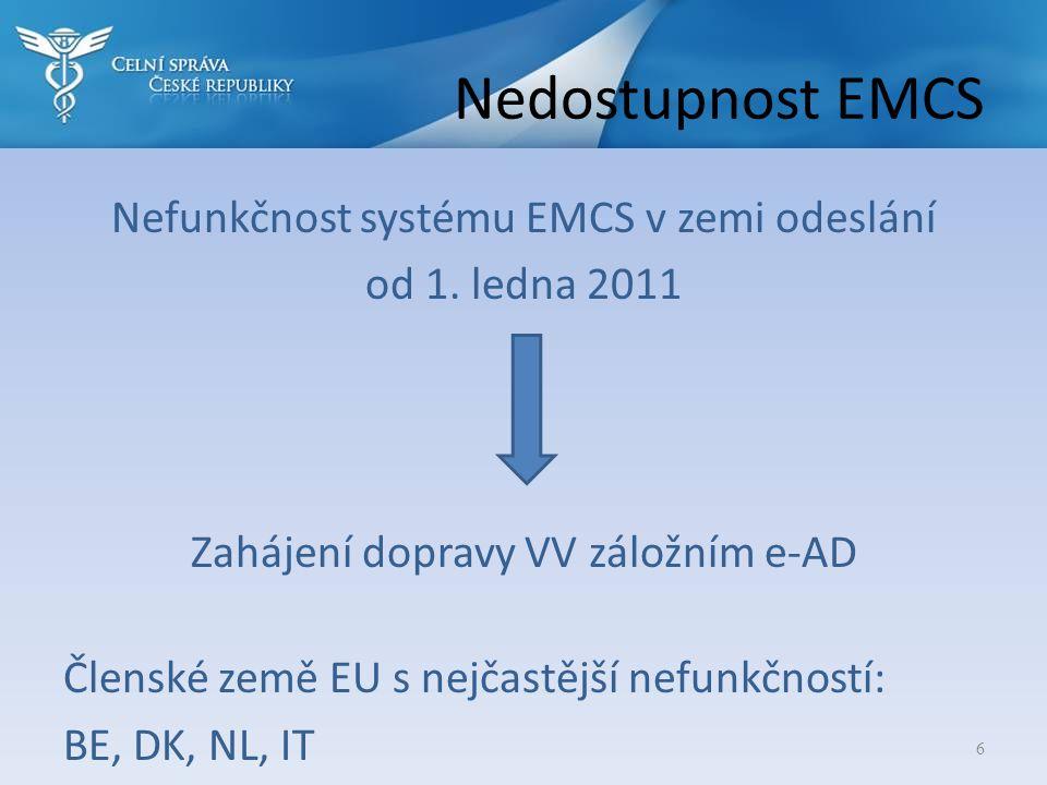 Nedostupnost EMCS Nefunkčnost systému EMCS v zemi odeslání od 1. ledna 2011 Zahájení dopravy VV záložním e-AD Členské země EU s nejčastější nefunkčnos