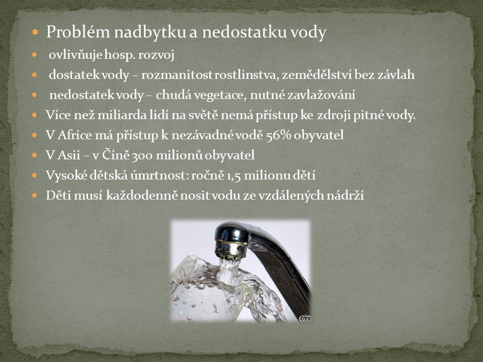  Problém nadbytku a nedostatku vody  ovlivňuje hosp.