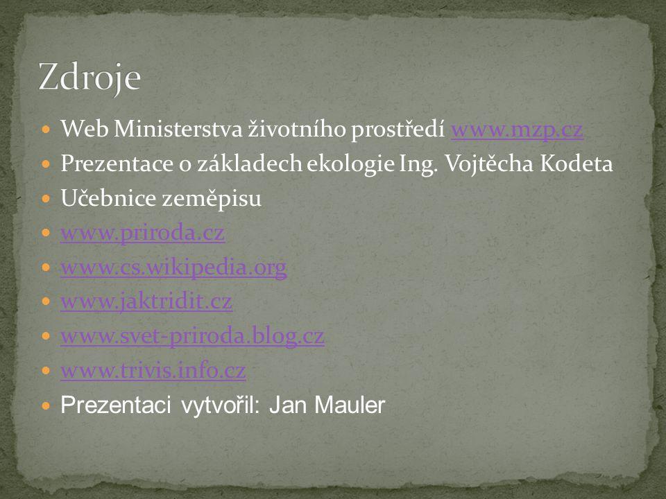  Web Ministerstva životního prostředí www.mzp.czwww.mzp.cz  Prezentace o základech ekologie Ing.