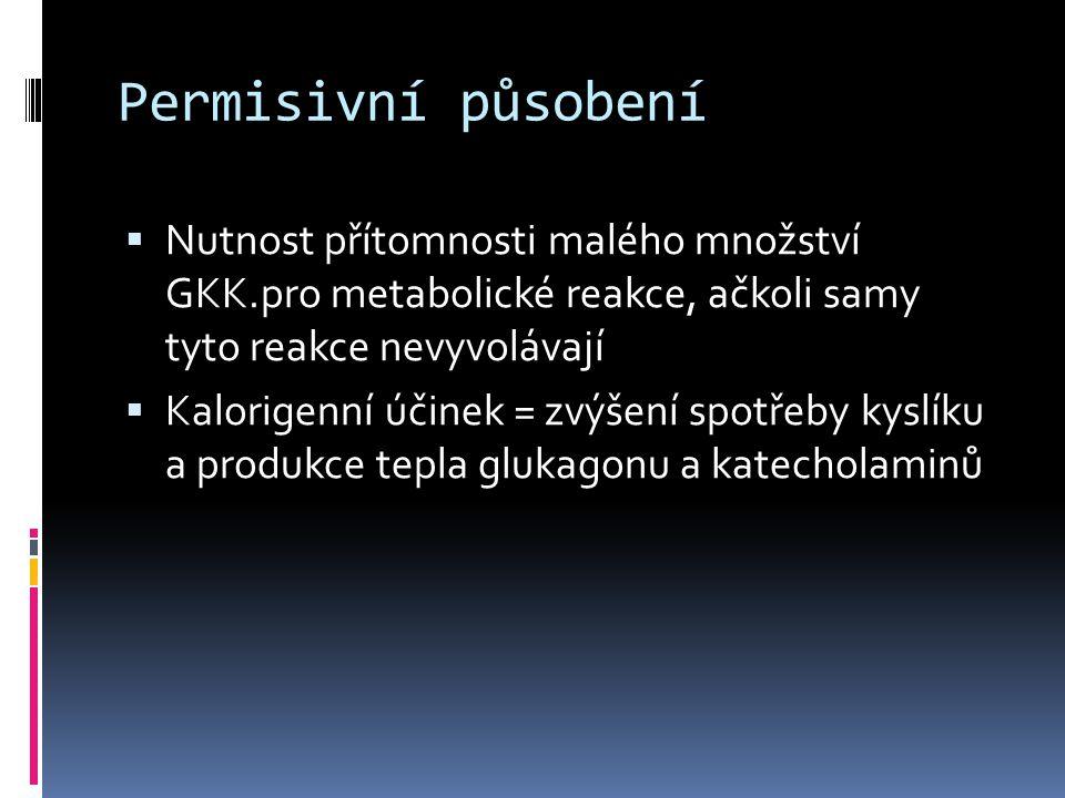 Permisivní působení  Nutnost přítomnosti malého množství GKK.pro metabolické reakce, ačkoli samy tyto reakce nevyvolávají  Kalorigenní účinek = zvýš