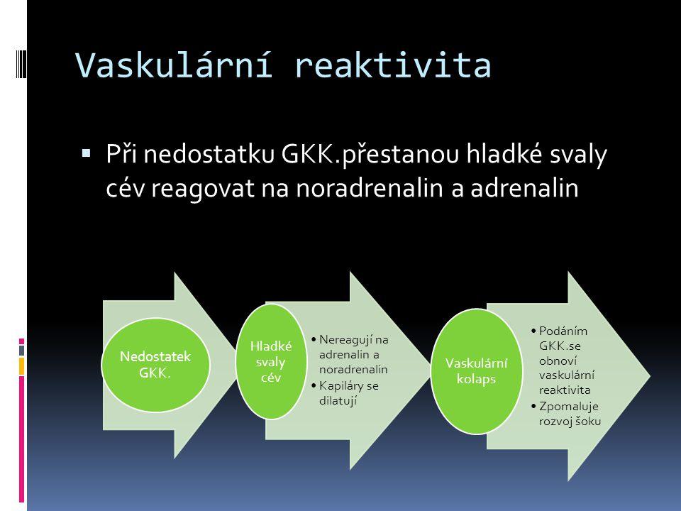 Vaskulární reaktivita  Při nedostatku GKK.přestanou hladké svaly cév reagovat na noradrenalin a adrenalin Nedostatek GKK. •Nereagují na adrenalin a n