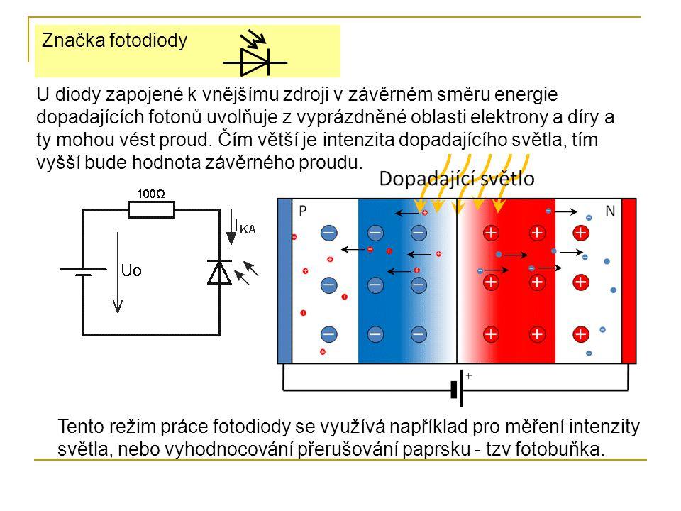 U diody zapojené k vnějšímu zdroji v závěrném směru energie dopadajících fotonů uvolňuje z vyprázdněné oblasti elektrony a díry a ty mohou vést proud.