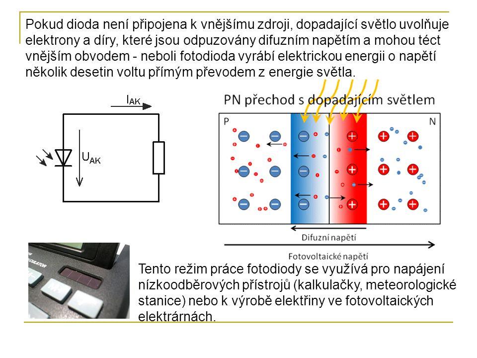 Pokud dioda není připojena k vnějšímu zdroji, dopadající světlo uvolňuje elektrony a díry, které jsou odpuzovány difuzním napětím a mohou téct vnějším