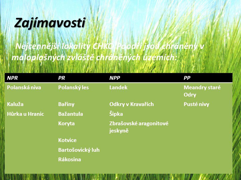Zajímavosti Nejcennější lokality CHKO Poodří jsou chráněny v maloplošných zvláště chráněných územích: NPRPRNPPPP Polanská nivaPolanský lesLandekMeandr