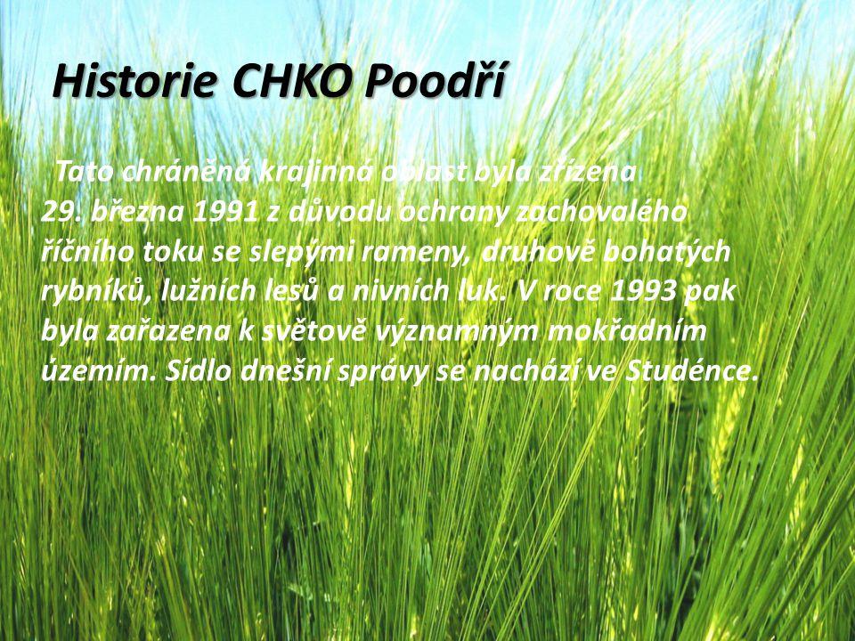 Historie CHKO Poodří Tato chráněná krajinná oblast byla zřízena 29. března 1991 z důvodu ochrany zachovalého říčního toku se slepými rameny, druhově b