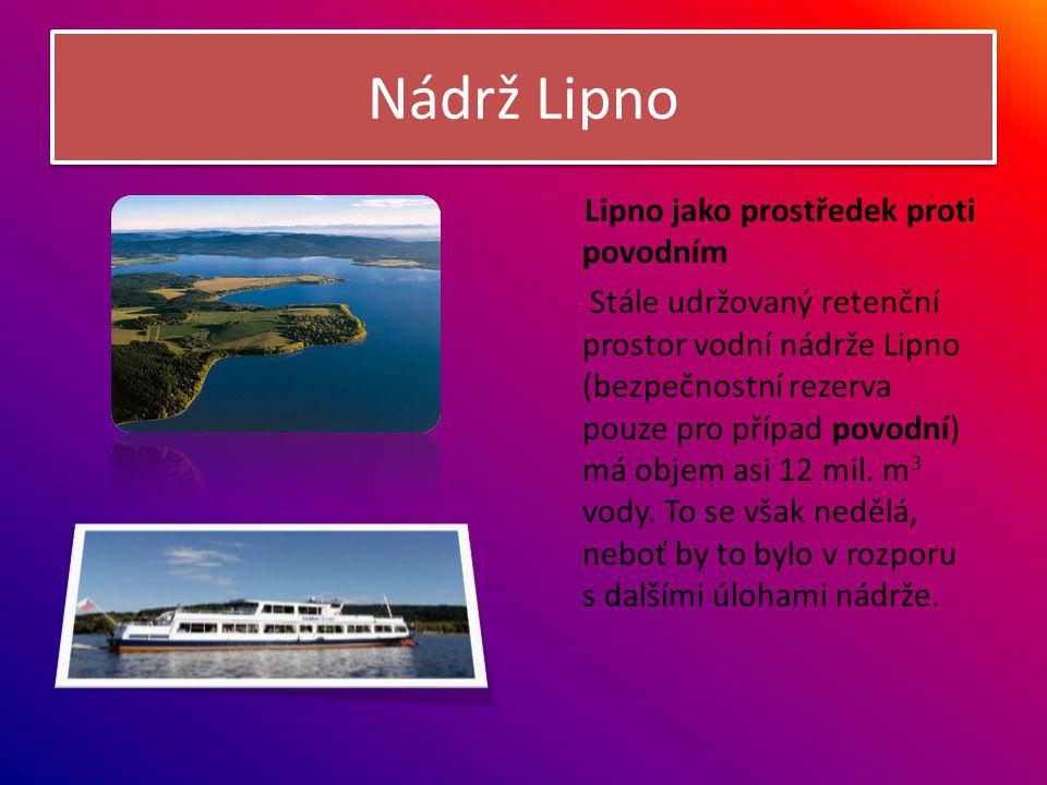 Nádrž Lipno Lipno jako prostředek proti povodním Stále udržovaný retenční prostor vodní nádrže Lipno (bezpečnostní rezerva pouze pro případ povodní) m