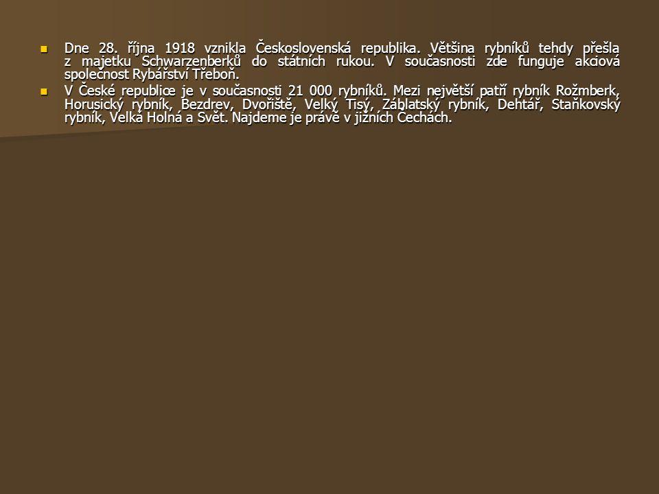  Dne 28. října 1918 vznikla Československá republika. Většina rybníků tehdy přešla z majetku Schwarzenberků do státních rukou. V současnosti zde fung