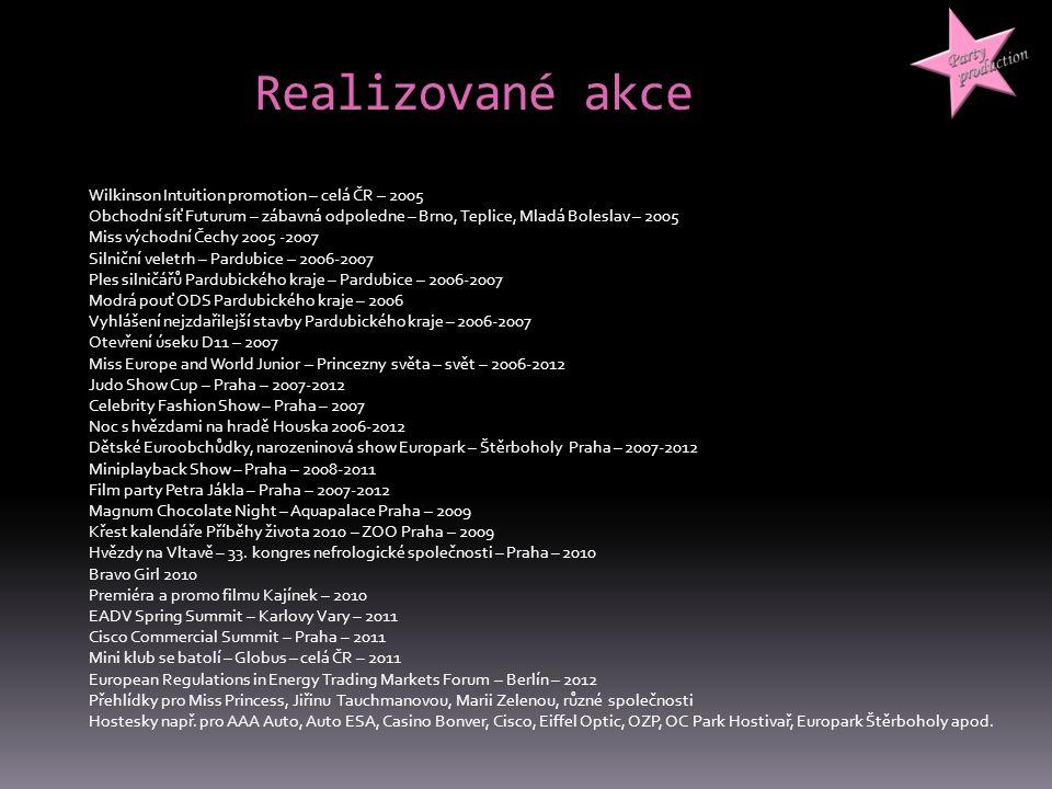 Realizované akce Wilkinson Intuition promotion – celá ČR – 2005 Obchodní síť Futurum – zábavná odpoledne – Brno, Teplice, Mladá Boleslav – 2005 Miss v