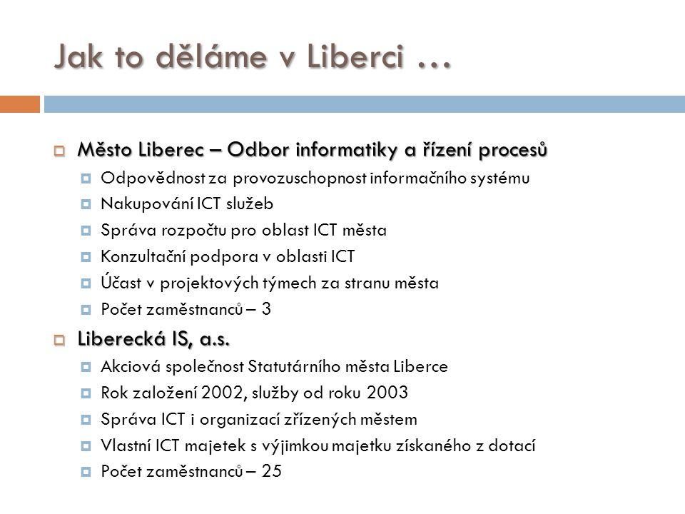 Jak to děláme v Liberci …  Město Liberec – Odbor informatiky a řízení procesů  Odpovědnost za provozuschopnost informačního systému  Nakupování ICT
