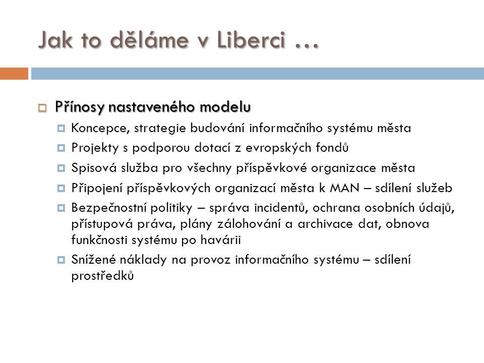 Jak to děláme v Liberci …  Přínosy nastaveného modelu  Koncepce, strategie budování informačního systému města  Projekty s podporou dotací z evrops