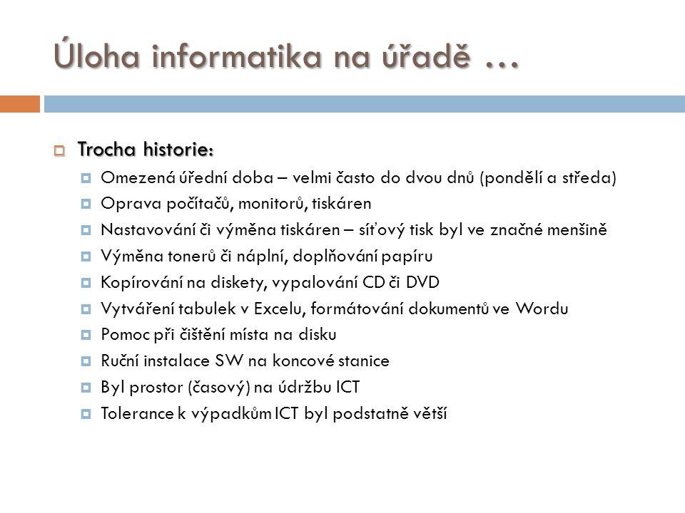 Úloha informatika na úřadě …  Trocha historie:  Ruční zálohování a archivace dat z koncových stanic – např.