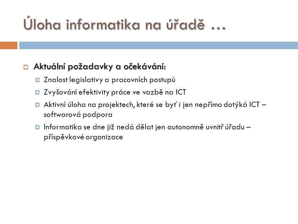 Úloha informatika na úřadě …  Aktuální požadavky a očekávání:  Znalost legislativy a pracovních postupů  Zvyšování efektivity práce ve vazbě na ICT