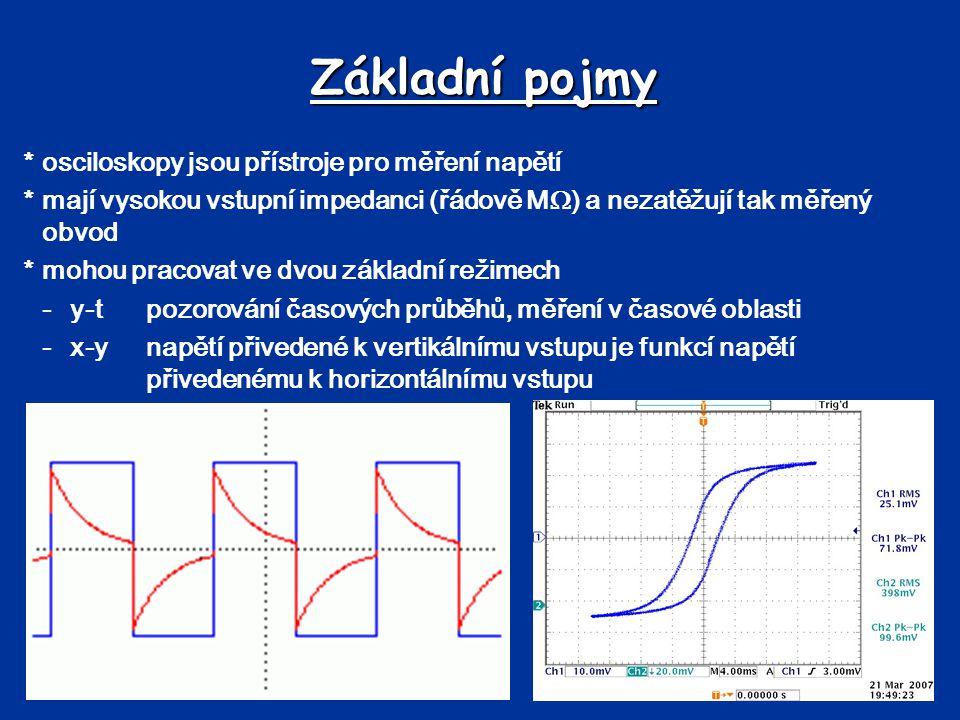 Základní pojmy *osciloskopy jsou přístroje pro měření napětí *mají vysokou vstupní impedanci (řádově M  ) a nezatěžují tak měřený obvod *mohou pracovat ve dvou základní režimech -y-tpozorování časových průběhů, měření v časové oblasti -x-ynapětí přivedené k vertikálnímu vstupu je funkcí napětí přivedenému k horizontálnímu vstupu