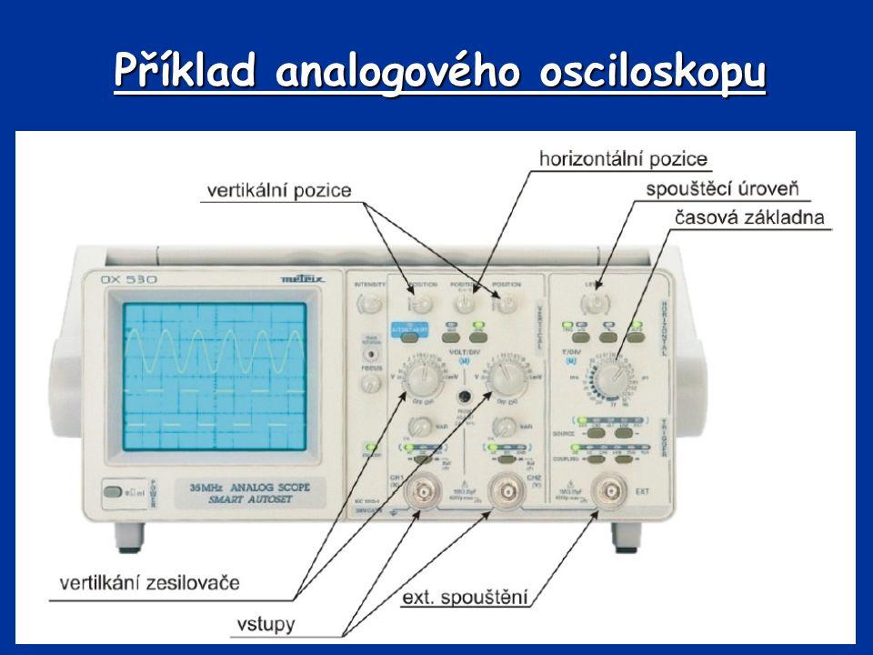 Základní rozdělení osciloskopů 2.digitální - princip: měřící signál je po úpravě ve vstupních obvodech (zesílení nebo zeslabení signálu) digitalizován v A/Č převodníku a ukládán do rychlé paměti.