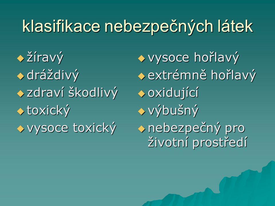 klasifikace nebezpečných látek žžžžíravý ddddráždivý zzzzdraví škodlivý ttttoxický vvvvysoce toxický vvvvysoce hořlavý eee