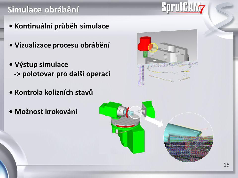 Simulace obrábění 15 • Kontrola kolizních stavů• Kontrola kolizních stavů • Výstup simulace• Výstup simulace -> polotovar pro další operaci -> polotov