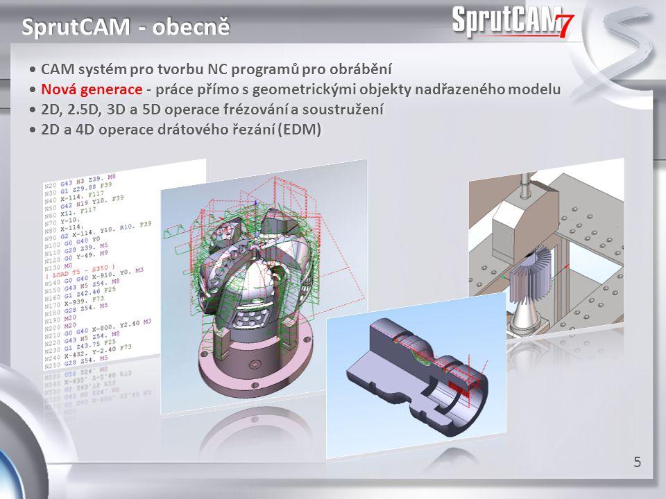 SprutCAM - obecně • CAM systém pro tvorbu NC programů pro obrábění • CAM systém pro tvorbu NC programů pro obrábění • Nová generace - práce přímo s ge