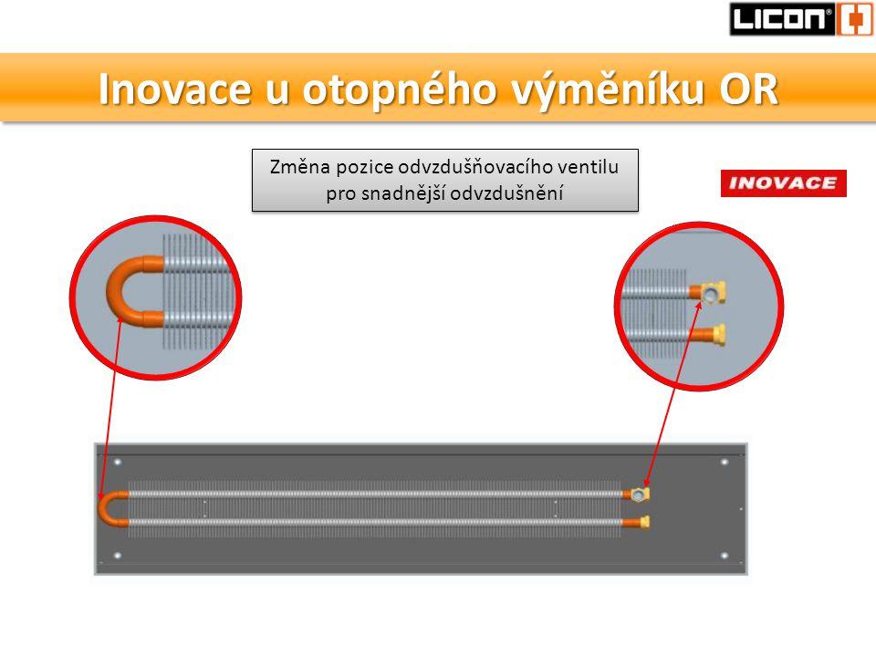 Inovace u otopného výměníku OR Změna pozice odvzdušňovacího ventilu pro snadnější odvzdušnění