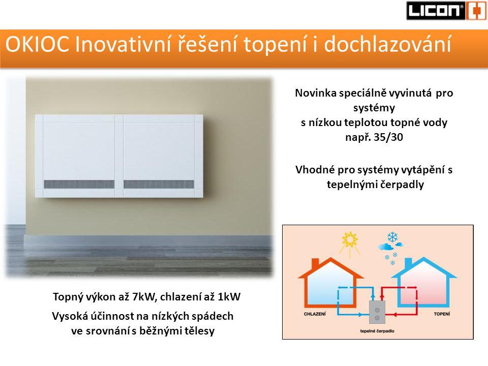 OKIOC Inovativní řešení topení i dochlazování Novinka speciálně vyvinutá pro systémy s nízkou teplotou topné vody např. 35/30 Vhodné pro systémy vytáp