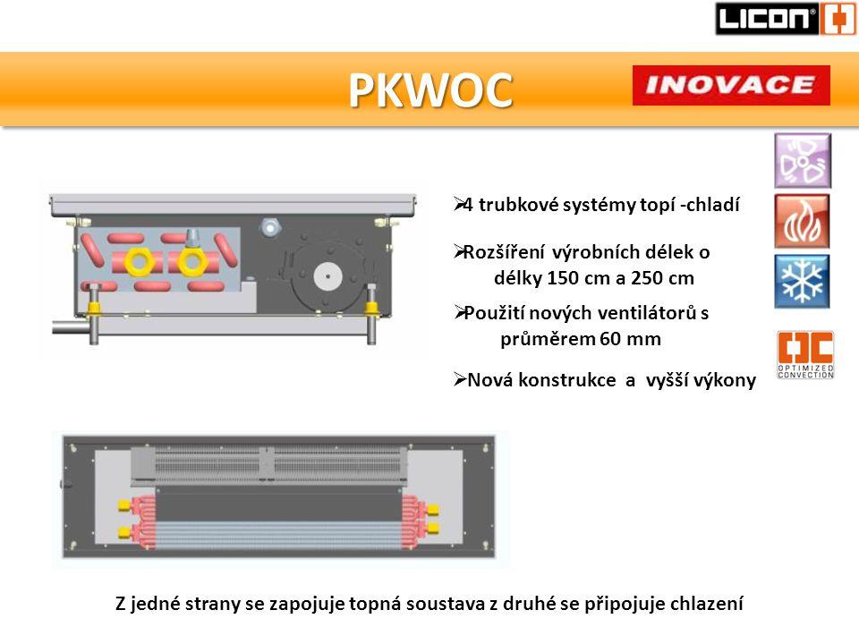 PKWOCPKWOC Z jedné strany se zapojuje topná soustava z druhé se připojuje chlazení  4 trubkové systémy topí -chladí  Použití nových ventilátorů s pr