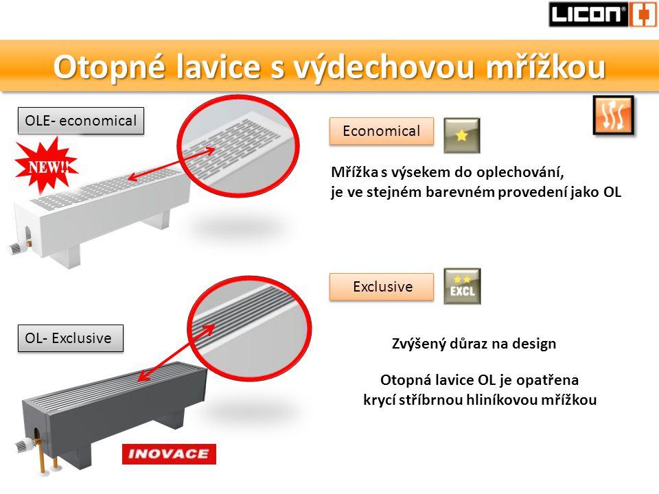 Otopné lavice s výdechovou mřížkou OLE- economical OL- Exclusive Mřížka s výsekem do oplechování, je ve stejném barevném provedení jako OL Otopná lavi