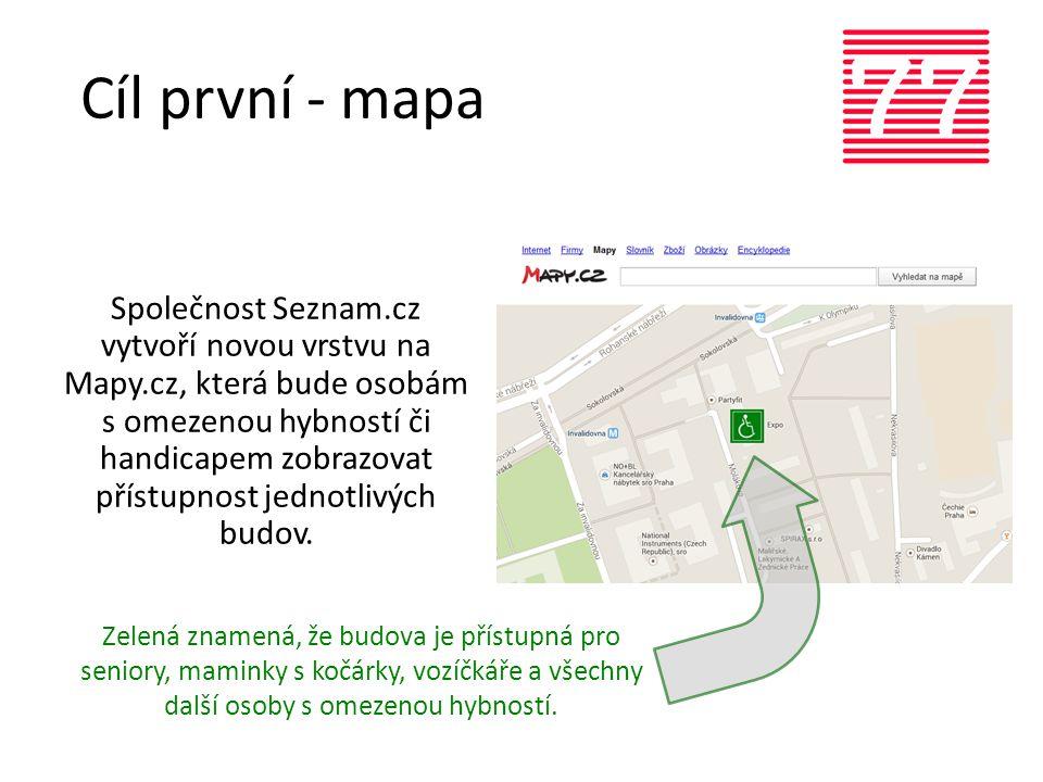 Cíl první - mapa Společnost Seznam.cz vytvoří novou vrstvu na Mapy.cz, která bude osobám s omezenou hybností či handicapem zobrazovat přístupnost jednotlivých budov.