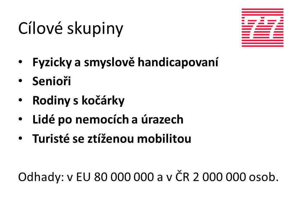 Cílové skupiny • Fyzicky a smyslově handicapovaní • Senioři • Rodiny s kočárky • Lidé po nemocích a úrazech • Turisté se ztíženou mobilitou Odhady: v EU 80 000 000 a v ČR 2 000 000 osob.