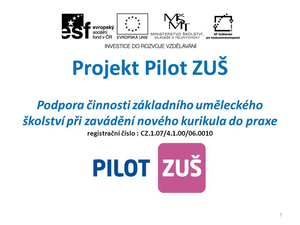 Projekt Pilot ZUŠ Podpora činnosti základního uměleckého školství při zavádění nového kurikula do praxe registrační číslo : CZ.1.07/4.1.00/06.0010 1