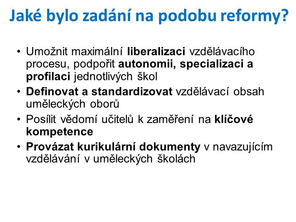 Jaké bylo zadání na podobu reformy.