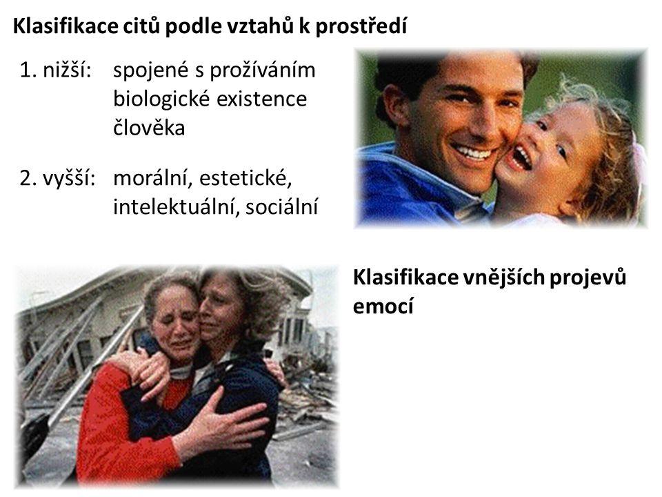 Klasifikace citů podle vztahů k prostředí 1. nižší:spojené s prožíváním biologické existence člověka 2. vyšší:morální, estetické, intelektuální, sociá